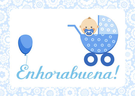 Congratulations, newborn boy, postcard, Spanish, vector. In the blue stroller sits a baby. The inscription in Spanish Congratulations! Color, flat picture.