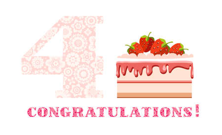 Congratulations, 4 years, strawberry cake, English, white, pink, vector. Happy anniversary. Big strawberry cake and number 4 on white background. The inscription in Russian congratulations! A little