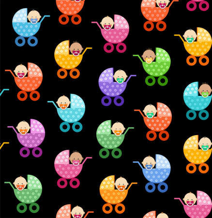 Babies in strollers, seamless pattern, black, vector. Small children in colored strollers on a black background. Color, flat background. Vector picture.
