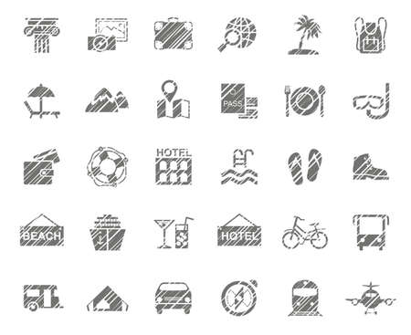 Travel, vacation, tourism, vacation, icons, pencil shading, monochrome, vector. Different types of holidays and ways of traveling. Gray icons on a white field. Simulation of shading. Vector clip art.