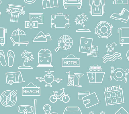 Travel, vacation, Hiking, leisure, seamless pattern, contour, blue. Different types of holidays and ways of traveling. Vector, color background. White line drawings on the blue field.