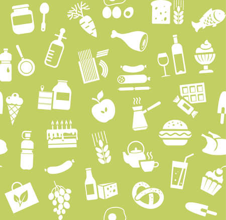 Food, seamless pattern, green, monochrome, grocery, vector. Food and drinks, production and sale. Vector background. White icons on the green field.