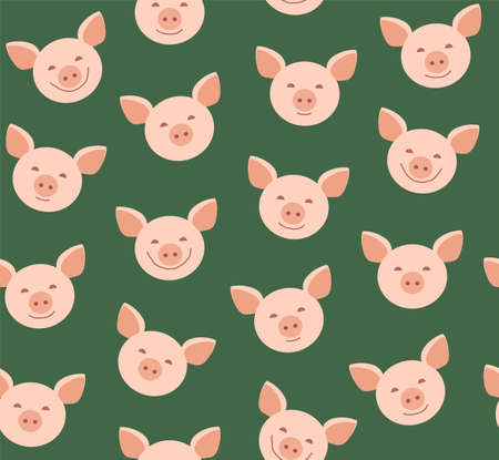 Funny piglets, seamless pattern, green, vector. Face pink pigs against a green background. Vector flat pattern. Pigs are laughing, different emotions. Illustration