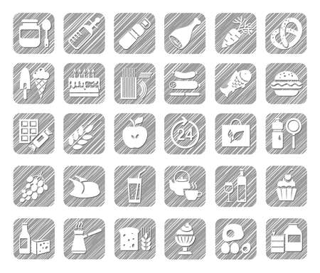 Food, icons, grocery store, pencil shading, gray, vector. Food and drinks, production and sale. White, flat icons on a gray shaded field. Simulation of shading. Vector clip art.