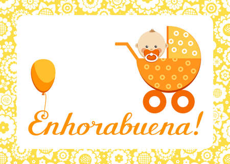 Congratulations, new baby, greeting card, Spanish, vector. In an orange stroller sits a baby. The inscription in Spanish Congratulations! Color, flat picture.  イラスト・ベクター素材