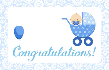 Congratulations, baby boy, card, English, vector. In the blue stroller sits a baby. The inscription in English Congratulations! Color, flat picture.  イラスト・ベクター素材