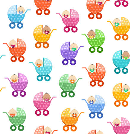 Babies in strollers, seamless pattern, white, vector. Small children in colorful baby carriages on a white background. Color, flat background. Vector picture.