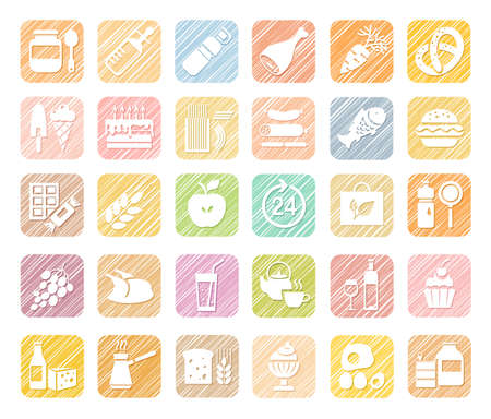 Food, colored icons, grocery store, pencil shading, vector. Food and drinks, production and sale. White, flat icons on a colored shaded field. Simulation of shading. Vector clip art.