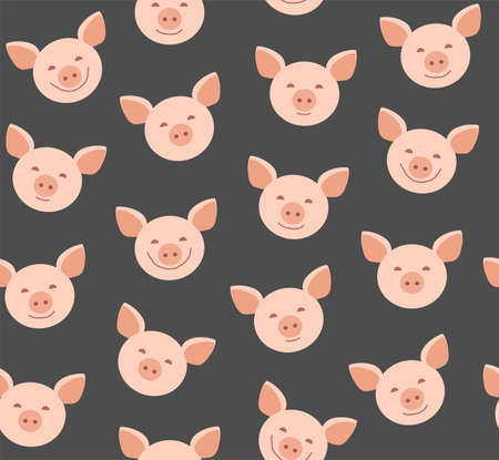 Funny piglets, seamless pattern, gray, vector. Pink faces of pigs on a gray background. Vector flat pattern. Pigs are laughing, different emotions. Illustration