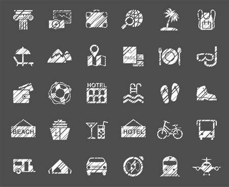 Travel, vacation, tourism, vacation, icons, pencil shading, vector, white. Different types of holidays and ways of traveling. White icons on a gray field. Simulation of shading. Vector clip art.  イラスト・ベクター素材