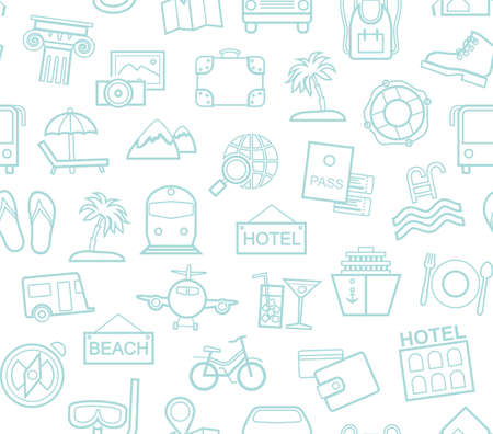 Travel, vacation, tourism, recreation, seamless pattern, outline, white, blue, vector. Different types of holidays and ways of traveling. Vector, color background. Blue line drawings on white backgrou