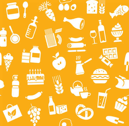 Food, seamless pattern, orange, monochrome, grocery, vector. Food and drinks, production and sale. Vector background. White icons on the orange field.
