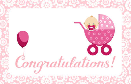 "Congratulations, newborn baby girl, postcard, English, vector. In a pink stroller. The inscription in English ""Congratulations!"" Color, flat picture. Vecteurs"