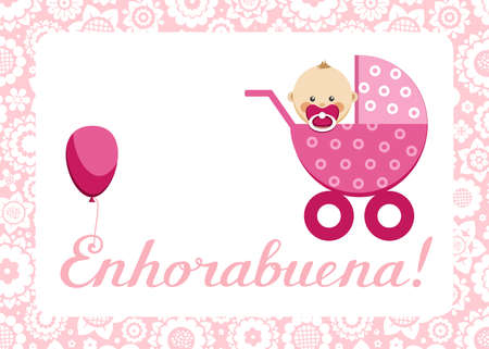 """Congratulations, newborn baby girl, postcard, Spanish, vector. In a pink stroller sits a baby. The inscription in Spanish """"Congratulations!"""" Color, flat picture. Vector Illustration"""