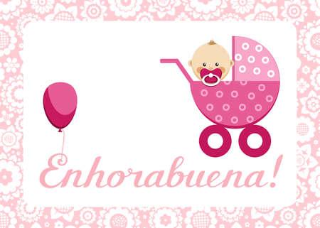 """Félicitations, petite fille nouveau-née, carte postale, espagnol, vecteur. Dans une poussette rose est assis un bébé. L'inscription en espagnol """"Félicitations!"""" Couleur, image plate. Vecteurs"""