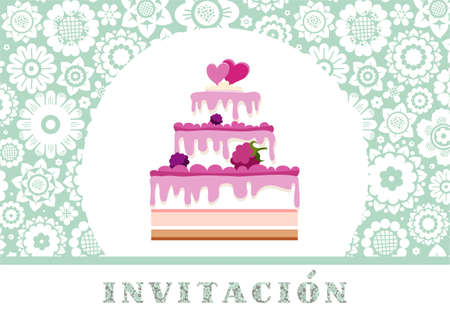 Invitation to celebration, berry cake, Spanish, blue, floral, vector.Color card. Invitation to a holiday, event, celebration. The inscription in Spanish