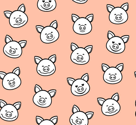 Piglets, seamless pattern, pink, vector. The white faces of the pigs with a black outline on a pink background. Vector flat pattern. Pigs are laughing, different emotions. 向量圖像