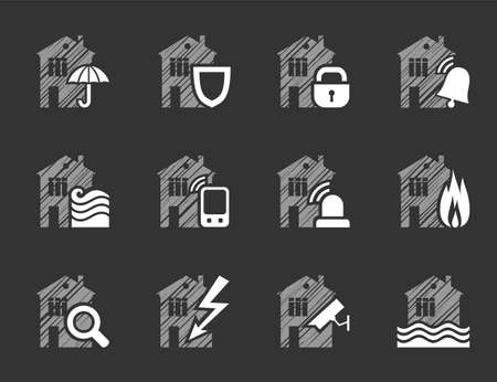 Security and insurance of the home, icons, shading, white, vector. Insurance of residential and office premises. Vector clip art. Flat, gray-white icons. Simulated pencil shading. Ilustração