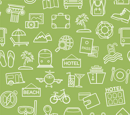 Travel, vacation, tourism, leisure, seamless pattern, contour, green. Different types of holidays and ways of traveling. Vector, monochrome background. White line drawings on a green field.