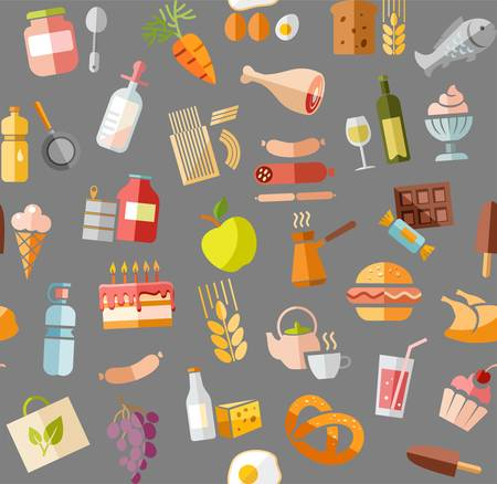 Food, seamless pattern, color, gray, grocery, vector. Food and drinks, production and sale. Vector, seamless background. Colored flat icons on the gray box.