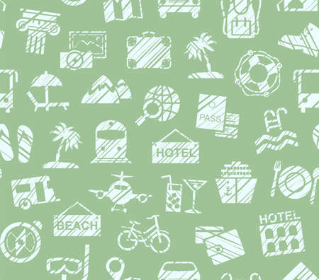 Travel, vacation, Hiking, leisure, seamless pattern, pencil shading, green, color, vector. Different types of holidays and ways of traveling. The green figures on a green background. Imitation of pencil hatching. Vector, color pattern.