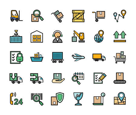 Cargo delivery, badges, set, color. Freight. Color images with a black outline. Vector.