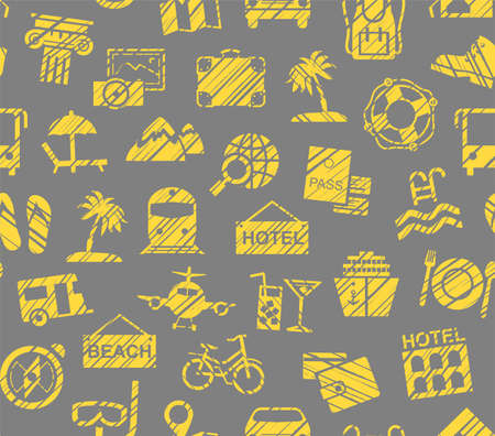 Travel, vacation, Hiking, leisure, seamless pattern, pencil shading, color, gray, yellow, vector. Different types of holidays and ways of traveling. Yellow drawings on a gray background. Imitation of pencil hatching. Vector, color pattern.