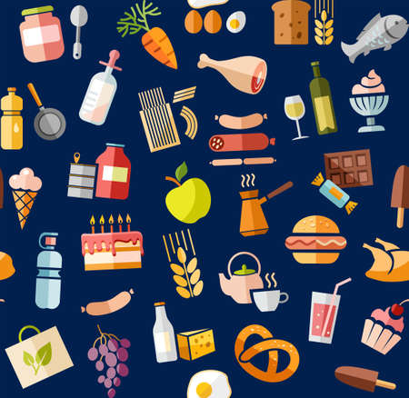 Food, seamless pattern, color, blue, grocery, vector. Food and drinks, production and sale. Vector, seamless background. Colored flat icons on the blue box. Vector Illustratie