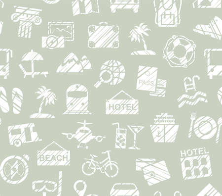 Travel, vacation, Hiking, leisure, seamless pattern, pencil shading, gray, vector. Different types of holidays and ways of traveling. White drawings on a gray-green background. Imitation of pencil hatching. Vector, color pattern. 向量圖像