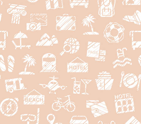 Travel, vacation, Hiking, leisure, seamless pattern, pencil shading, pink, vector. Different types of holidays and ways of traveling. White drawings on pink background. Imitation of pencil hatching.