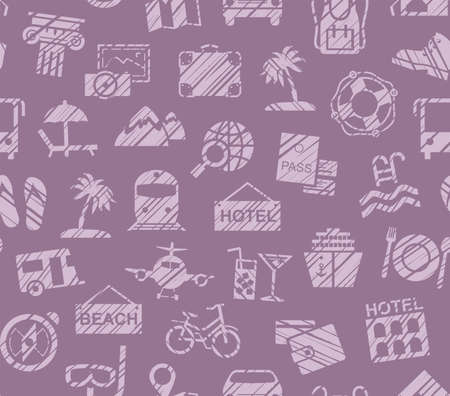 Travel, vacation, Hiking, leisure, seamless pattern, pencil shading, purple, color, vector. Different types of holidays and ways of traveling. Purple images on purple background. Imitation of pencil Stock Illustratie