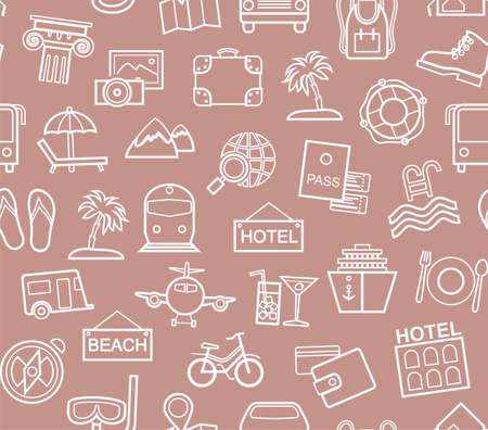 Travel, vacation, tourism, leisure, seamless pattern, contour, lilac. Different types of holidays and ways of traveling. Vector, color background. White line drawings on a pink-brown field.