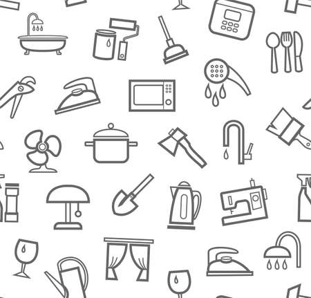 Household goods and appliances, seamless pattern, white. Gray icons on a white field. Thin outline. Vector.