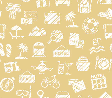 Travel, vacation, Hiking, leisure, seamless pattern, pencil shading, yellow, vector. Different types of holidays and ways of traveling. White figures on a yellow background. Imitation of pencil hatch