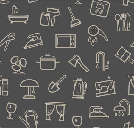 Household goods and appliances, seamless pattern, color, gray. Gray icons on a gray field. Thin outline. Vector.