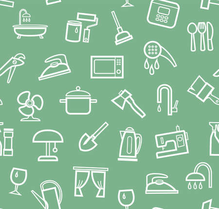 Household goods and appliances, seamless pattern, green. White icons on a green field. Thin outline. Vector.