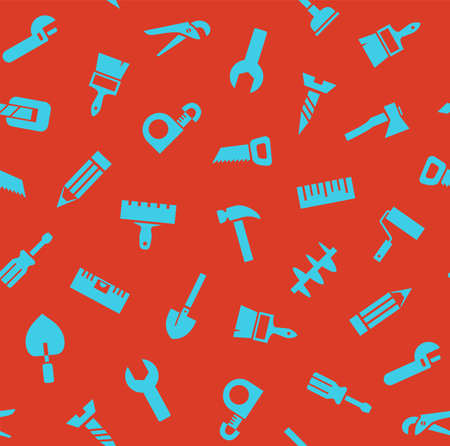 Hand tools, construction, seamless pattern, color, red. Blue icons on a red field. Colored flat background. Vector.