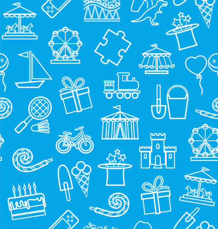 Games for children, contour drawing, seamless background, blue, vector .. Vector background with objects for the entertainment of children. Linear white image on a blue field.