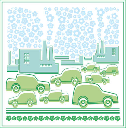 The city and the machine, ecology. In the town there are the factories, on the streets of many cars, but they do not pollute the environment.
