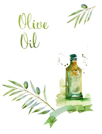 hand writing: design set with olive branches and bottle of olive oil in splattered watercolor style. letters in hand writing watercolor style. Design elements isolated on white background.