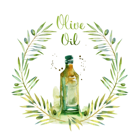 hand writing: wreath of olive branches watercolor with bottle and letters in hand writing watercolor style. Design elements isolated on white background Stock Photo