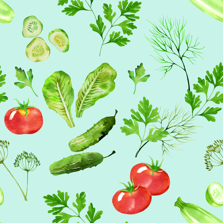 vegetable seamless pattern with tomatoes, marrow, cucumber, dill and parsley watercolor. Hand drawn vegetables in watercolor style.