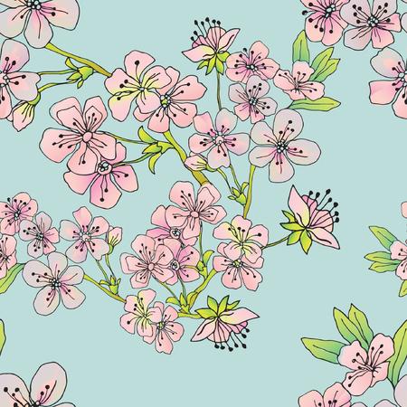 Modello senza cuciture floreale con ramo di fioritura. Stile disegnato a mano di vettore di primavera in mano per tessile, carta, carta da parati, decorazione e confezionamento