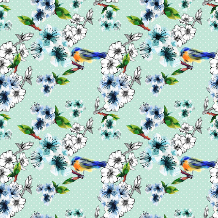 chinoiserie: Floral seamless pattern with flowering branch and birds. Cute spring background on polka dots. For textilr, paper, wrapping and decoration