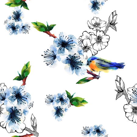 chinoiserie: Floral seamless pattern with flowering branch and birds. Cute spring background on white. For textilr, paper, wrapping and decoration Stock Photo