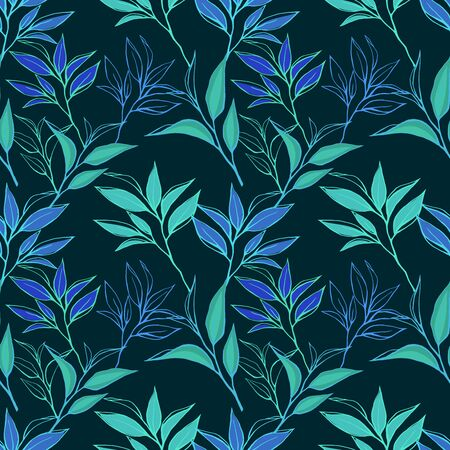 abstract paintings: Floral seamless pattern. Hand drawn tea leaves background on dark. For textile, paper, decoration and wrapping Stock Photo