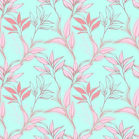 abstract paintings: pink seamless pattern. Hand drawn tea leaves background on blue. For textile, paper, decoration and wrapping