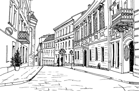 Old city street in hand drawn sketch style. Vector illustration. Small European city. vintage landscape on white background