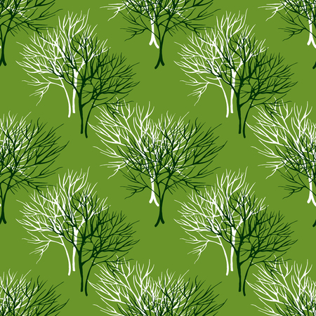 healing: Vegetable seamless pattern with white dill, basil and parsley isolated in hand drawn sketch style on green background