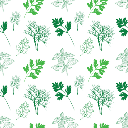 healing: Vegetable seamless pattern with green dill, basil and parsley isolated in hand drawn sketch style on white background